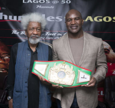 Heavyweight Champ, Evander Holyfield to Fight Bola Tinubu in Lagos, Wole Soyinka as Referee (Photo)
