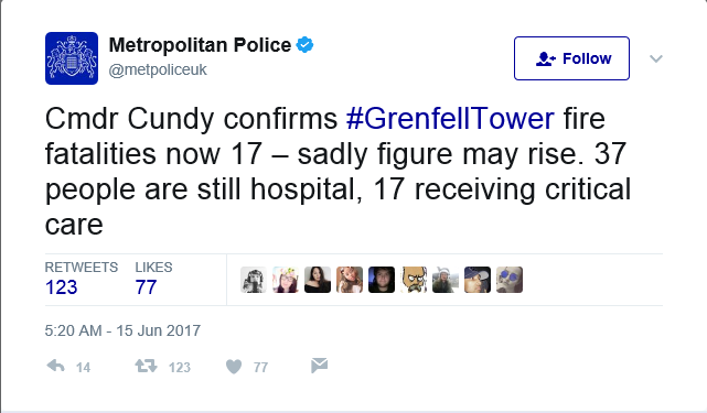 At Least 17 Now Confirmed Dead in London Fire Accident