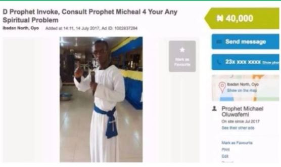 Ibadan Prophet Advertises His Ministry On OLX, Charges N40,000 For Any Spiritual Problems (Photo)