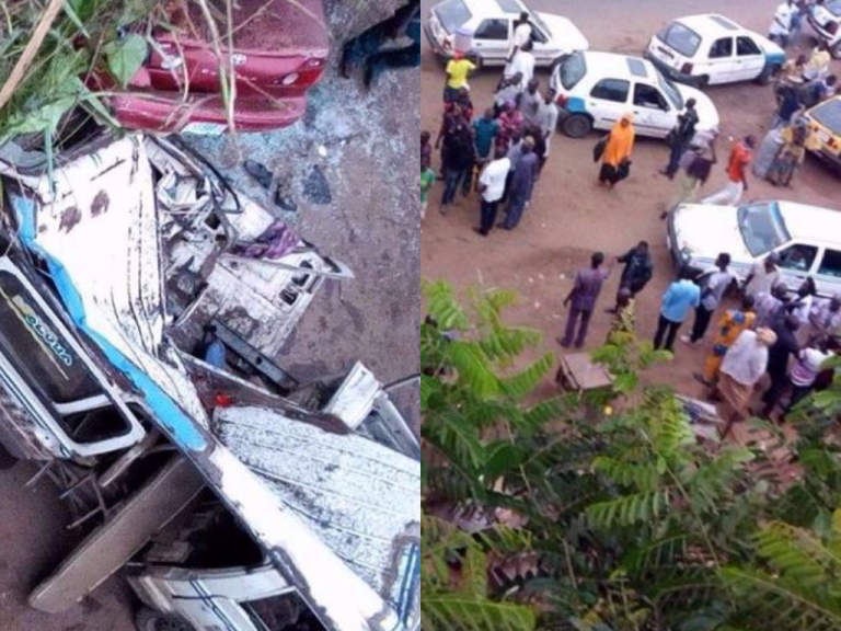 Car Falls Off Bridge, Lands On Bus In Ibadan (Photos)