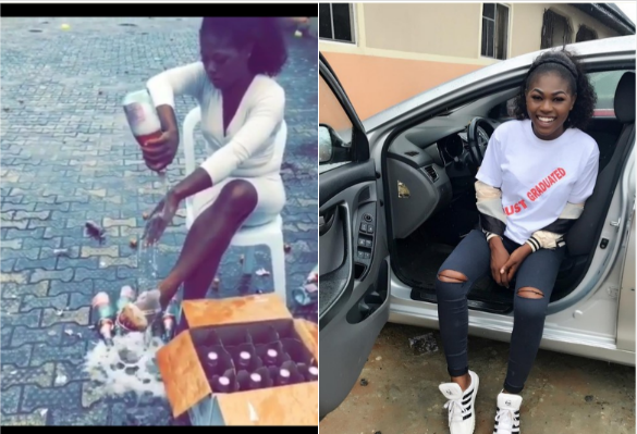 Watch Slay Queen Pop 100 Bottles of Andre Wine on Her Body to Celebrate Her Graduation