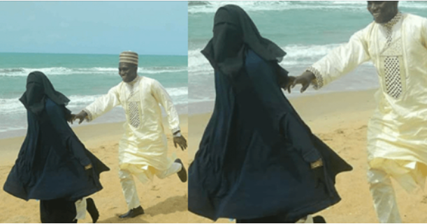 Beautiful Photos Of Nigerian Muslim Man And His Wife All Loved Up On The Beach