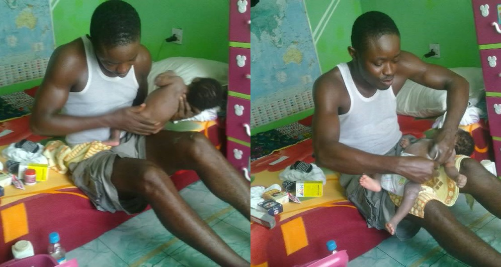 """My Wife Needs Rest""; Dad All Smiles As He Bathes New Born Baby (Photos)"