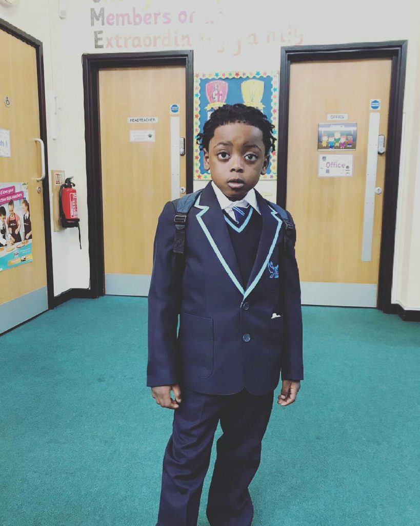 Terry G Shares Photo Of His Cute Son, T-Rex As He Resumes School In UK.