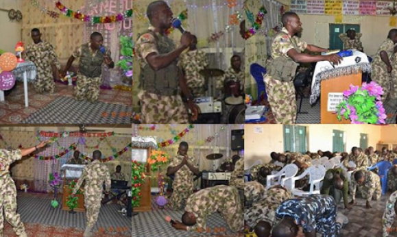 Photos Of Nigerian Soldiers Fighting Boko Haram In A Prayer, Praise And Worship Session