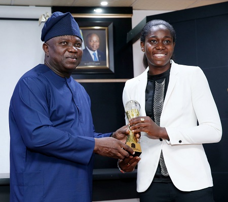 PHOTO: Ambode Receives Asisat Oshoalain His Office