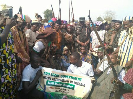 Ayo Fayose Meets Local Hunters Charge Them To Protect Ekiti People From Herdsmen