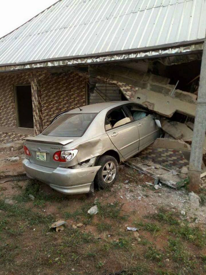 Group Of Boys Smash Their Car Into A Residential Building In Delta State (Photo)