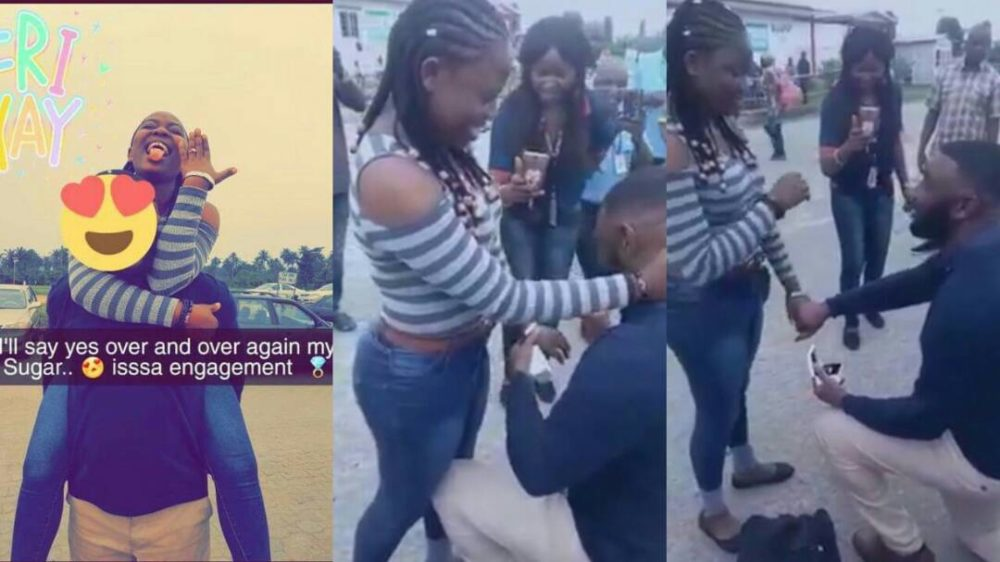 Nigerian Man Kneels Down to Proposes to His Girlfriend at The Airport (Video)