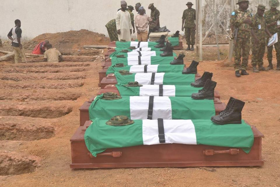 Soldiers Who Were Killed By Armed Attackers In Kaduna, Buried Amid Tears (Photos)