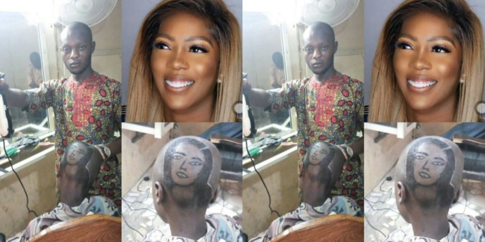 Skilled Barber Carves Tiwa Savage's Photo On Fan's Head (Photos)
