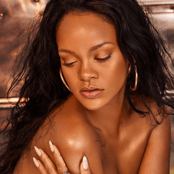 Rihanna Goes Topless To Promote Her Latest Beauty Product (Photos)