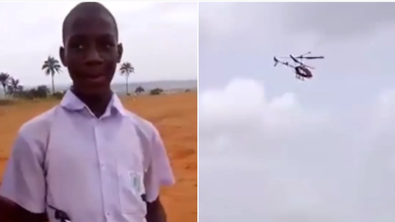 Secondary School Boy From Anambra Builds Toy Helicopter (Video)