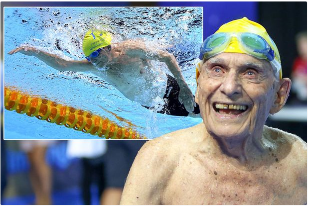 99-Year-Old Man Breaks World Record For 50m Swimming Freestyle In The Pool (Photos)