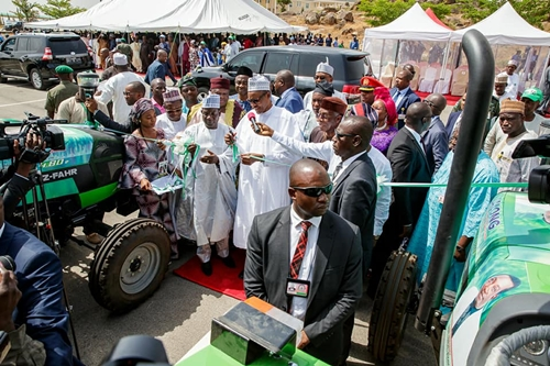 President Buhari Spotted Driving A Tractor In Jos, Plateau State (Photos)