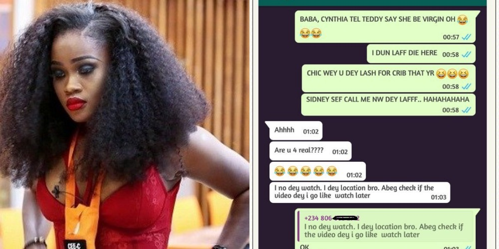 #BBNaija: Cee-C lied, she's not a virgin – Alleged ex-boyfriend reacts (Screenshot)