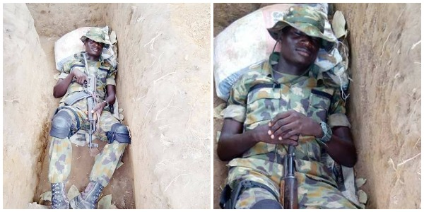 'No Big Boy For Bush'; Nigerian Soldier Shows How He Sleeps In The Jungle (Photos)