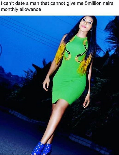 I Can't Date A Man That Cannot Give Me 5million Naira- Nigerian Lady