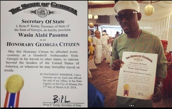 Pasuma Honored As A Citizen Of Atlanta Georgia (photo)