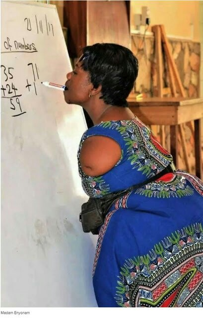 Mathematics Teacher Without Arms Writing With Her Teeth Goes Viral (See Photo)