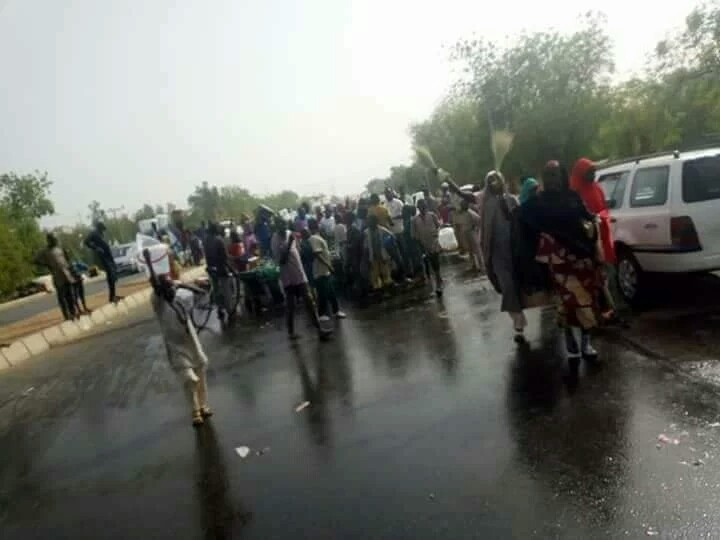 "Youths Wash Away President Buhari's ""Bad Omen"" After Visit To Yobe State (Photos)"