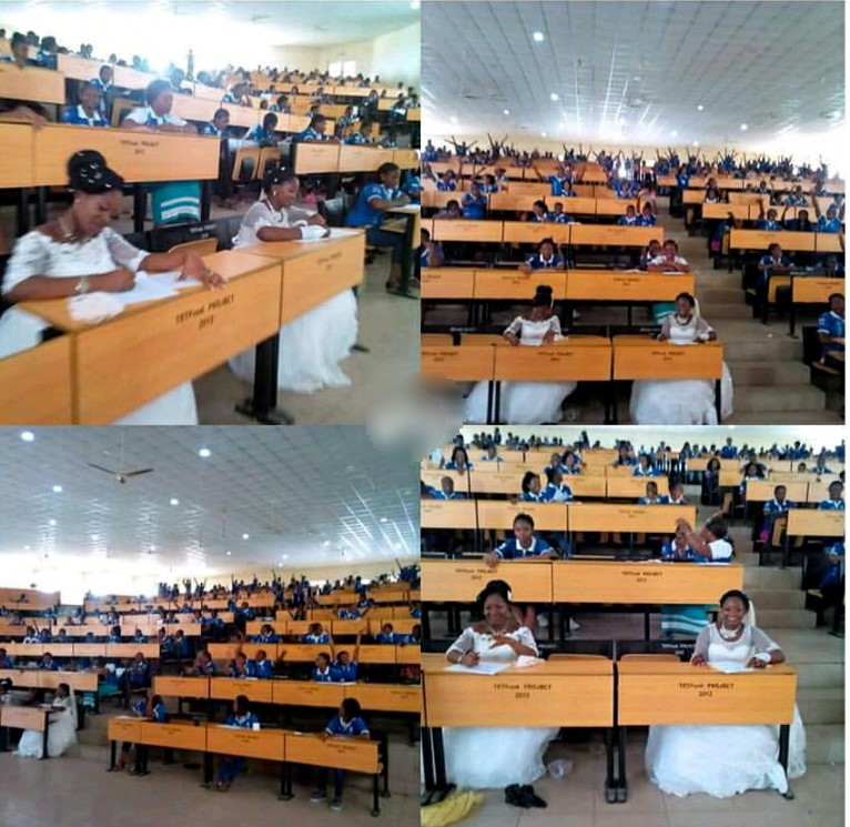 Two Nigerian Final Year Students Write Exam In Wedding Gowns