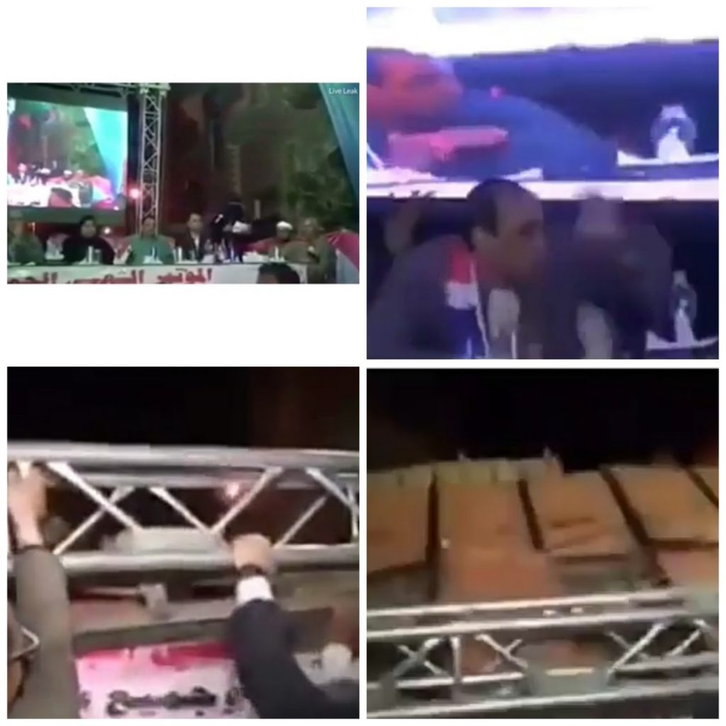 Giant Television Screen Collapses On Top Of Egyptian Politicians (Video)