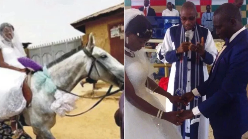 Nigerian Bride Rides a Horse to Church on Her Wedding Day