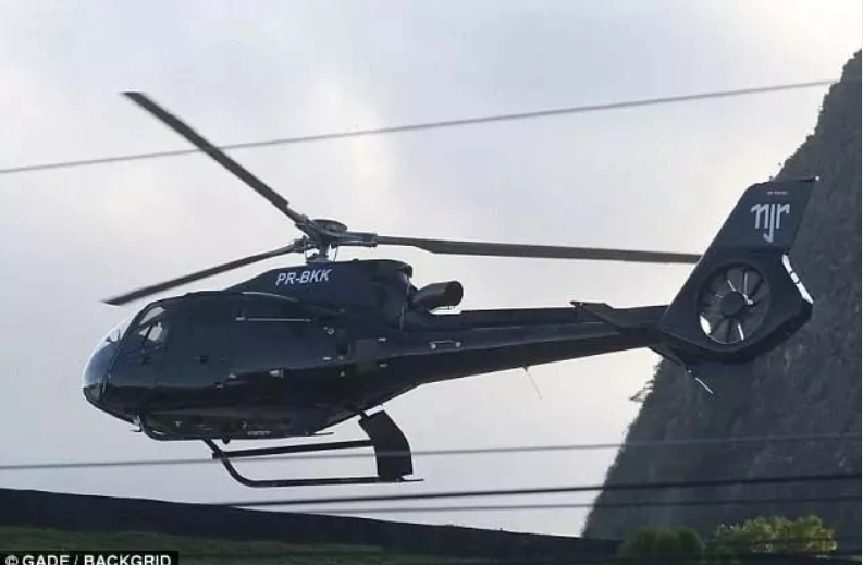 Big boy! Neymar Steps Out in Customise Helicopter With Actress Girlfriend (Photos)