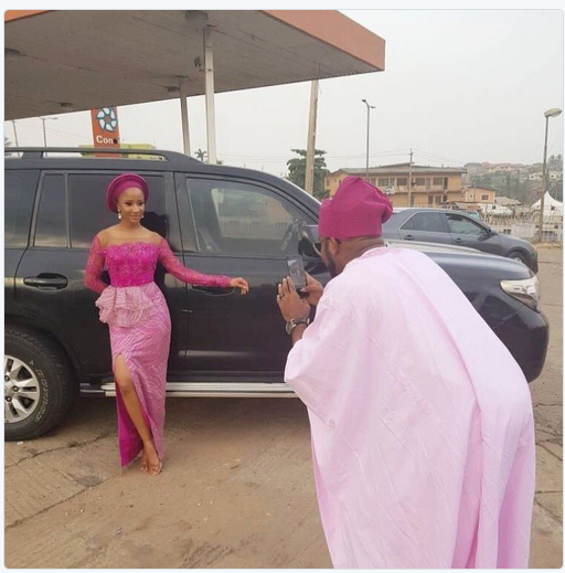 Viral Picture: Banky On Photographers Duty For Adesua