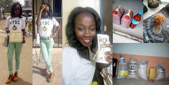 NYSC member sells Garri, palm oil and crayfish during her service year to make ends meet; makes over N200k (Photos)