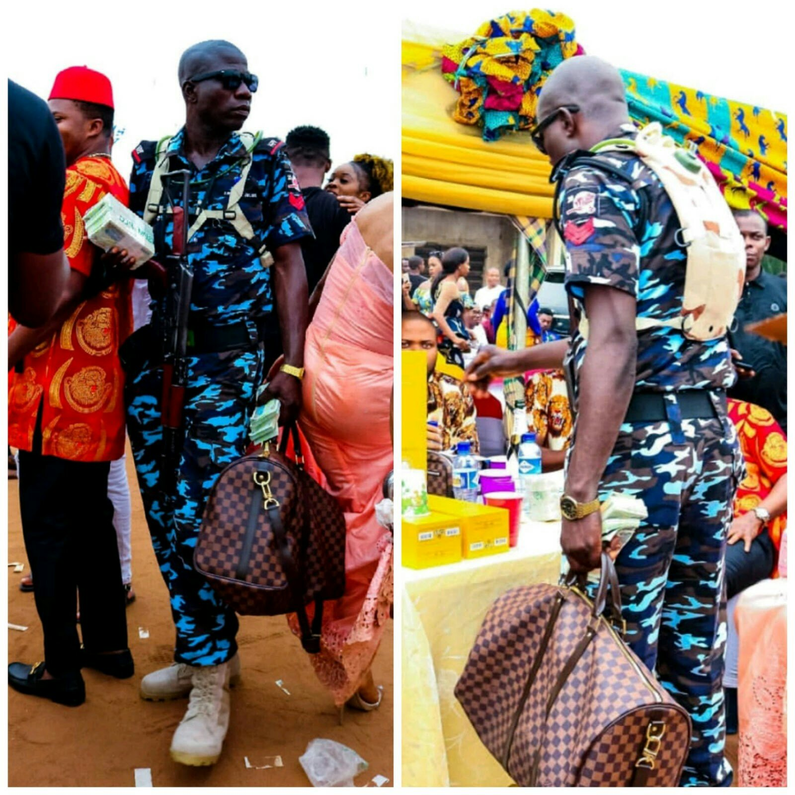 Nigerian Policeman Spotted Carrying A Bag For A Lagos Man At An Event (Photos)