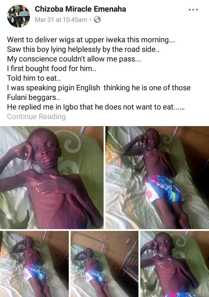 Woman Narrates How She Found A Homeless Boy Lying By The Road Side In Onitsha