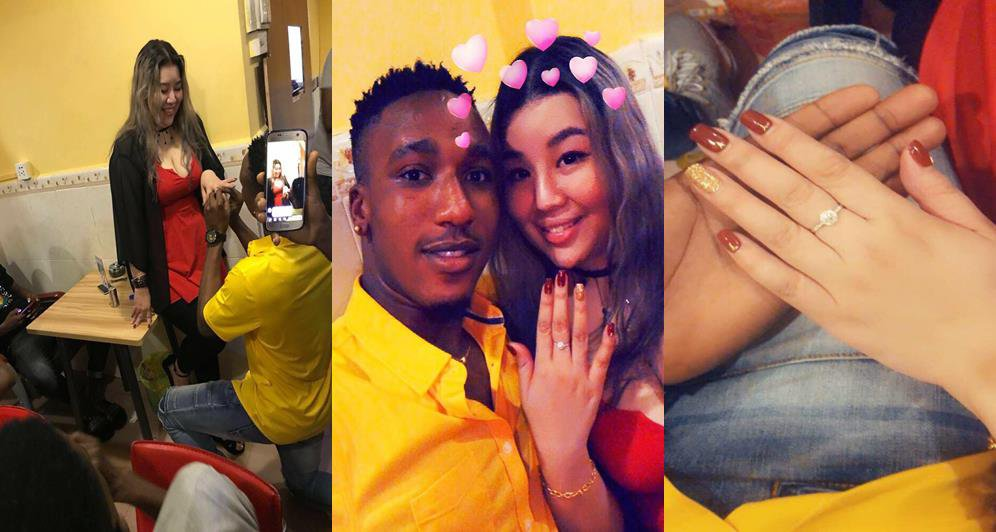 Nigerian Big Boy Proposes to His Chinese Girlfriend (Photos)
