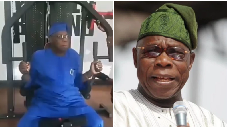 81-year-old Former President Obasanjo Hits the Gym (Video)