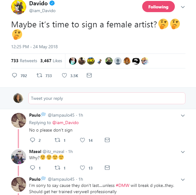 'Its Time to Sign a Female Artist'- Davido as he Rants on Twitter