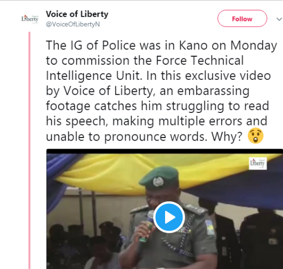 Embarrassing Video Shows IG Of Police Unable To Read His Speech In Kano (Video)