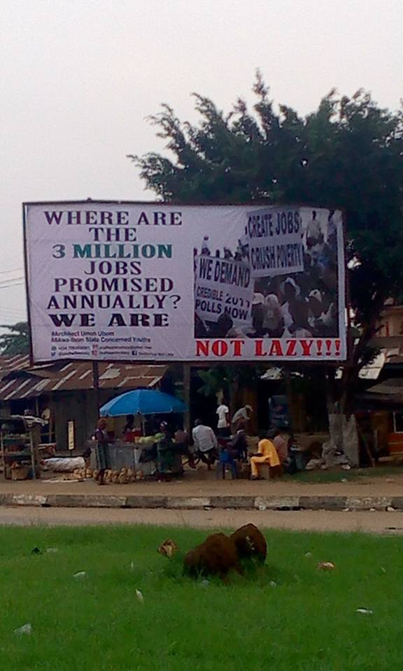 See The Billboards Erected In Akwa Ibom Over Buhari's Statement In London (Photos)