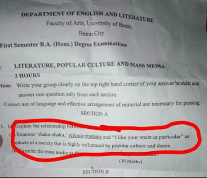 """Shaku Shaku"" And ""I Like Your Waist In Particular"" Included In UNIBEN Exam Question"