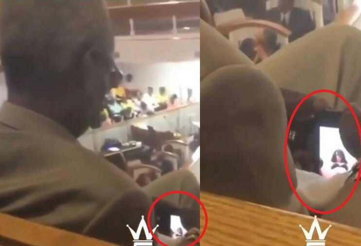 Haba! Elderly Man Caught Watching X-rated Video During Church Service (Picture)