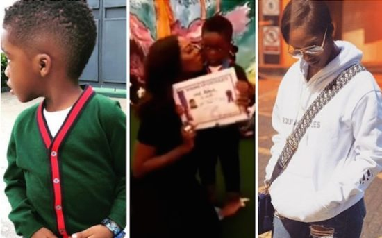 Tiwa Savage's Son, Jamil, Looks Shy As He Speaks To The Crowd On Graduation Day