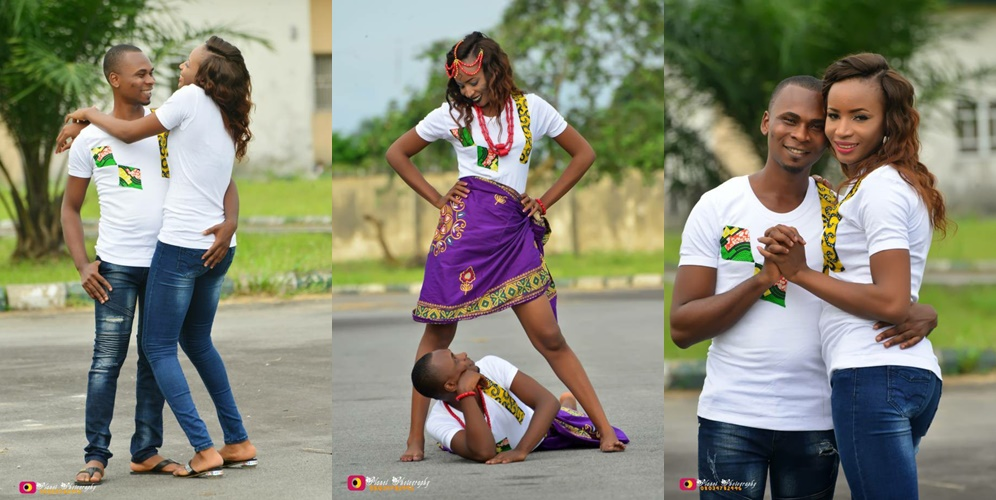 Man Stares Under His Fiancee's Legs As She Opens Them Wide In Pre-wedding Shoot