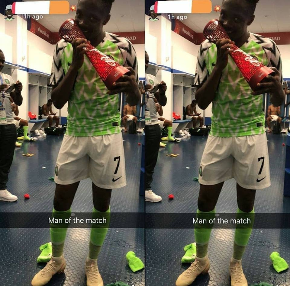 Ahmed Musa Flaunts His Man Of The Match Award After World Cup Heroics (Photos)