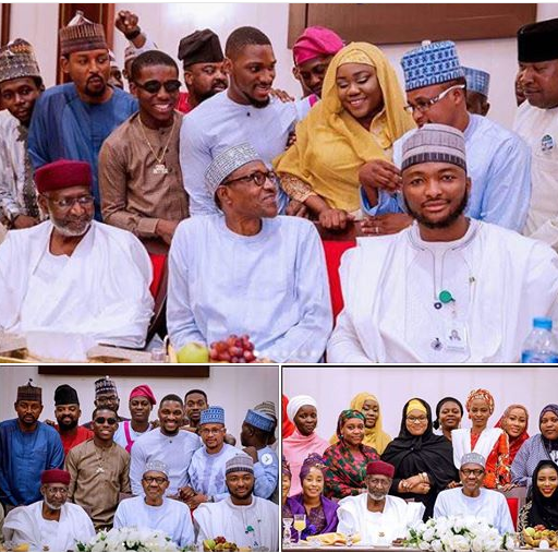 See How Much Buhari Gave To Artistes And Youths Who Visited At The Presidential Villa