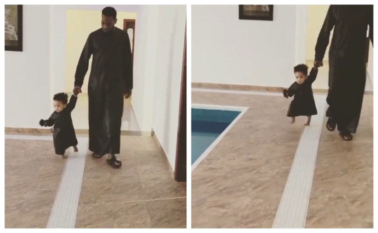 Heartbreaking Throwback Video Of Dbanj Walking His Son By The Swimming Pool