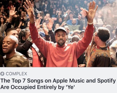 Kanye West's 'Ye' occupies top 7 Songs on Apple Music & Spotify