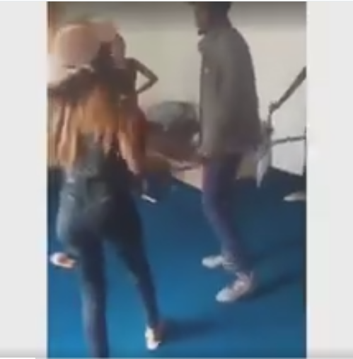 Viral Video of a Lady Flogging Her Boyfriend With Cain Infront oh her friends For Cheat!ng (VIDEO)