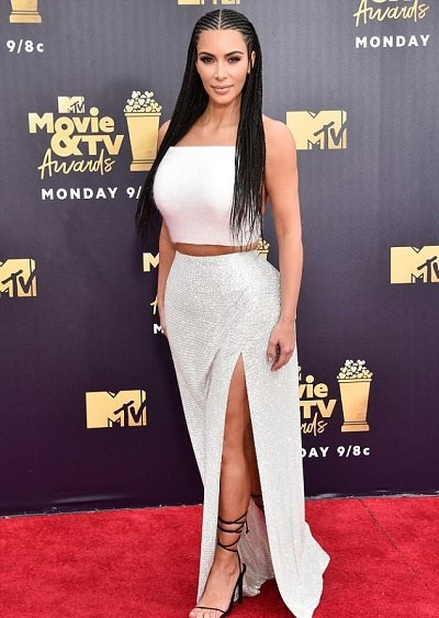 Kim Kardashian Crashes MTV Movie Awards Sexy In Husband, Kanye West Fashion Line