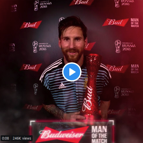 Lionel Messi Flaunts His Man Of The Match Award After World Cup Heroics (Photo)