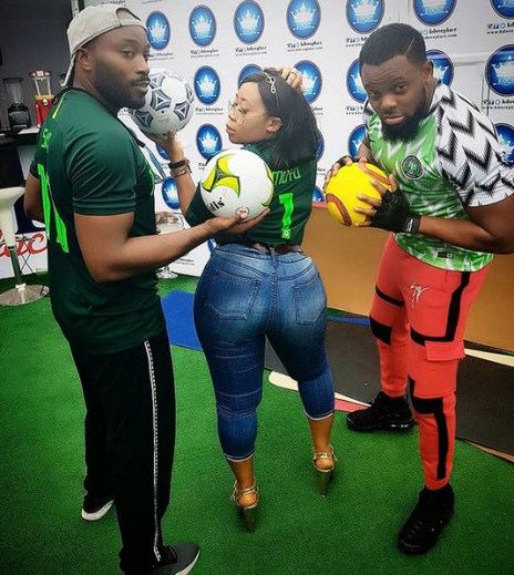 Moyo Lawal Falunts Her Backside As She Rocks Nigerian Jersey (Photo)